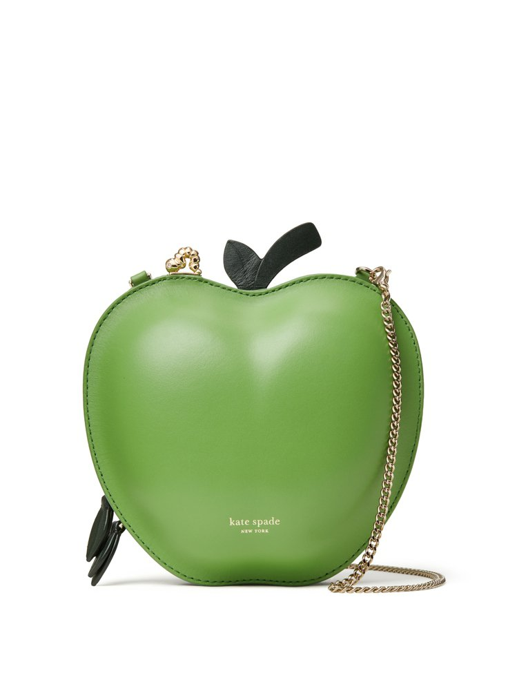 kate spade Nicola野餐系列蕉葉綠蘋果造型肩背包,售價1,1400...