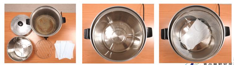 食藥署證實口罩使用「電鍋乾蒸消毒法」後可以用三至五次。圖/食藥署提供