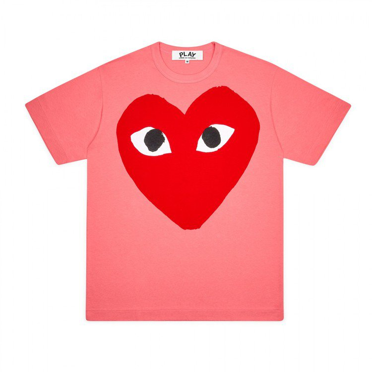 Comme des Garçons大眼愛心粉桃紅色T恤,價格店洽。圖/團團選品提...