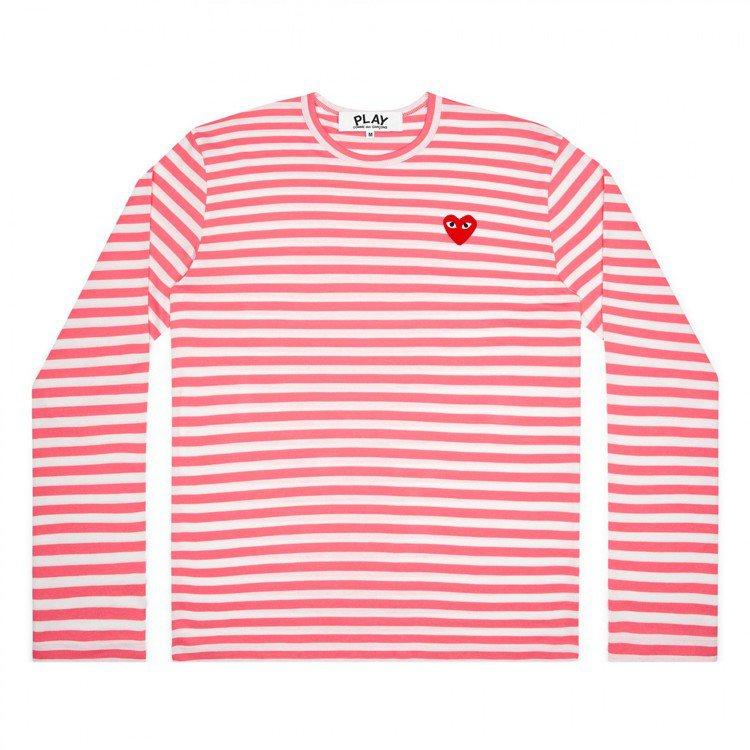 Comme des Garçons迷你愛心粉桃紅色橫紋T恤,價格店洽。圖/團團選...