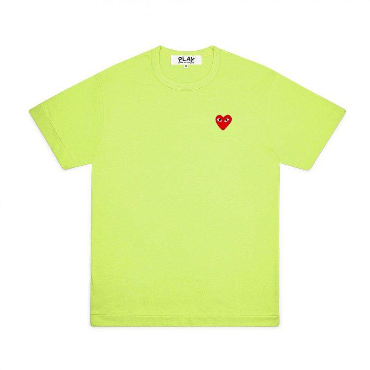 Comme des Garçons迷你愛心青蘋果綠色T恤,價格店洽。圖/團團選品...