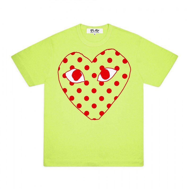 Comme des Garçons鏤空圓點愛心青蘋果綠色T恤,價格店洽。圖/團團選品提供