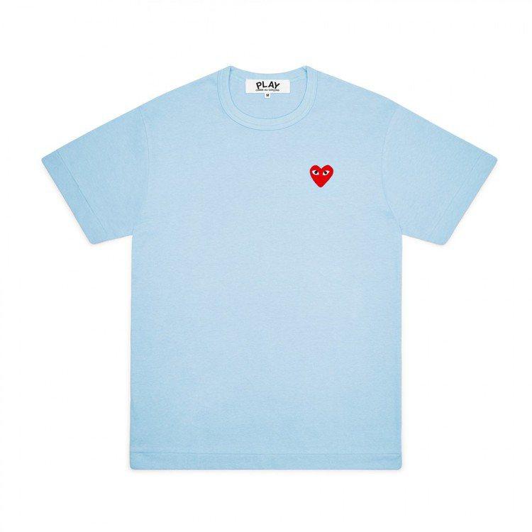 Comme des Garçons迷你愛心天空藍色T恤,價格店洽。圖/團團選品提...
