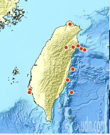 台南市今天下午連續發生5次有感地震,但未釀災。圖/翻攝自中央氣象局網站