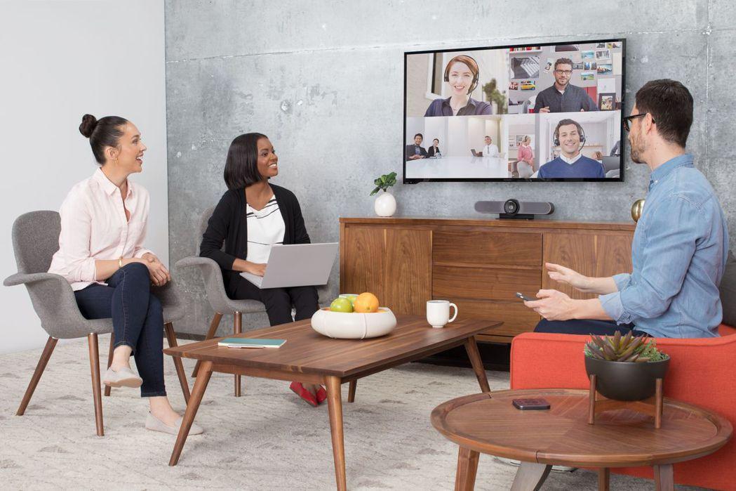 羅技電子Meetup音視訊一體成形120度廣角會議攝影機適合8人以下使用。 展碁...