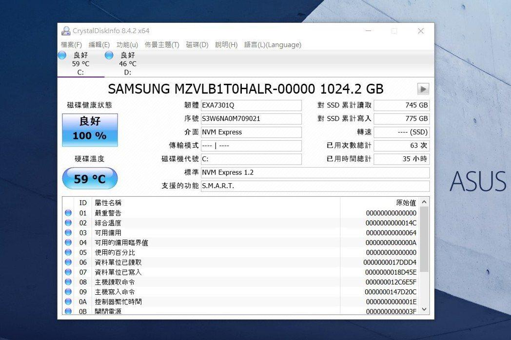 此次送測的ExpertBook B9450採用兩條三星高階PCIe x4 SSD...