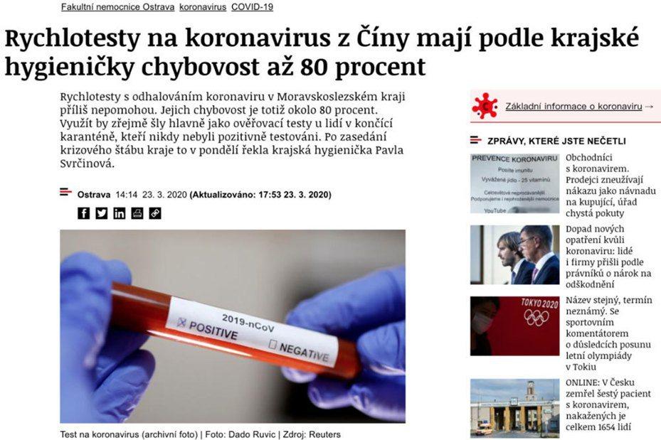 捷克媒體報導指出向中國訂購的快篩劑錯誤率高達80%。圖擷自iRozhlas