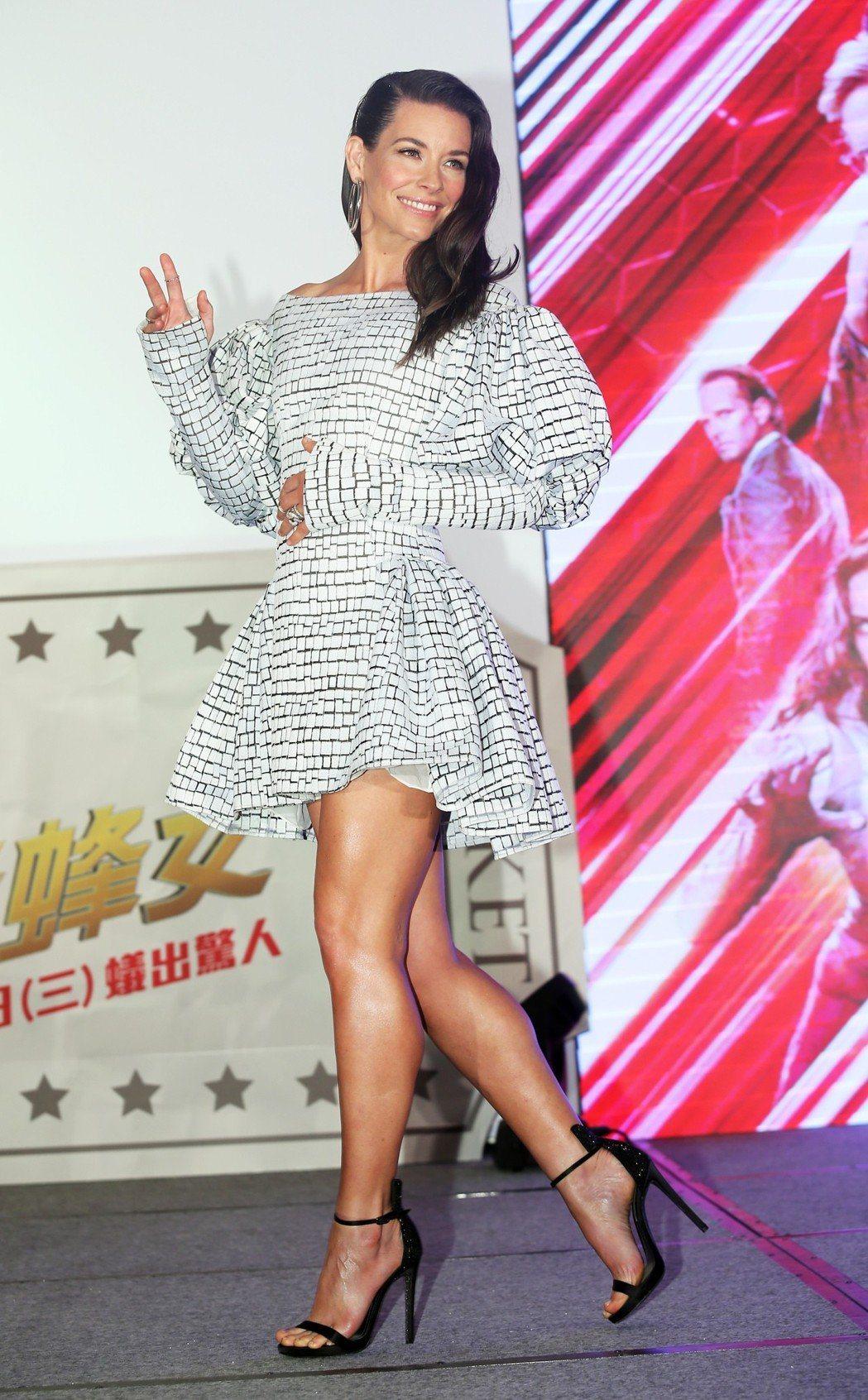 「黃蜂女」伊凡潔琳莉莉出席在台北舉行的宣傳記者會。記者徐兆玄/攝影