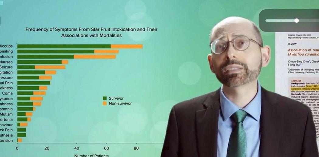 由加拿大基金會贊助,葛雷醫師主持的網站節目, 大量引用義大醫院有關楊桃神經毒性的...