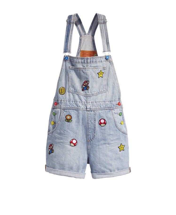 Levi's與Super Mario聯名系列女裝吊帶褲3,990元。圖/Levi...
