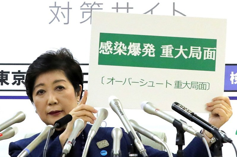 東京都知事小池百合子25日召開緊急記者會,舉起「感染爆發的重大局面」標語。2020年東京奧運24日確定延期一年後,東京都連續打破新冠肺炎單日確診人數新高。法新社