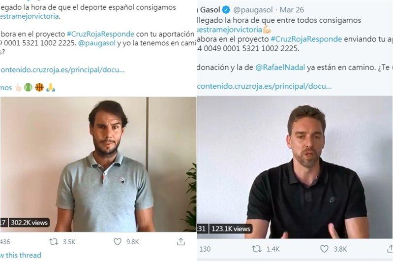 「蠻牛」納達爾(左),攜手NBA球星加索(右)聯手發起募款,盼為西班牙籌措1100萬歐元。 截圖自納達爾、加索推特