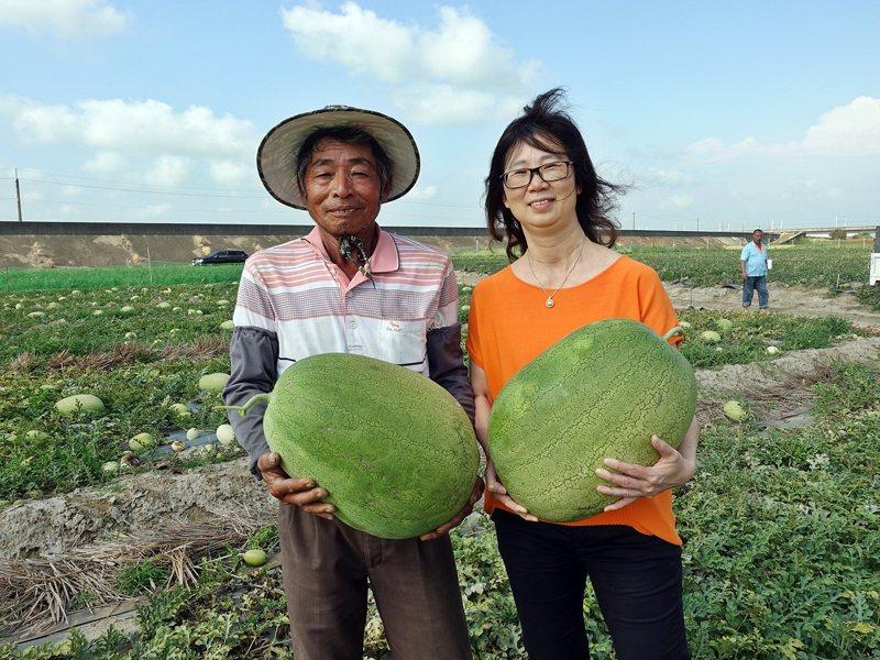 嘉義市旅館公會理事長李素珍(右),昨向西瓜農林錫宗採購130多顆西瓜,捐贈醫護人員。記者卜敏正/翻攝