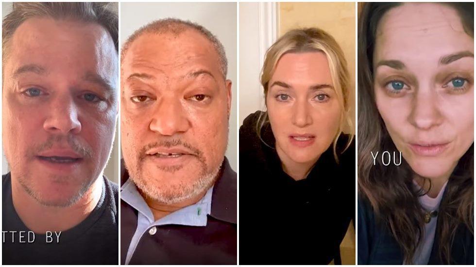 麥特戴蒙、勞倫斯費許朋、凱特溫絲蕾以及瑪莉詠柯蒂亞合拍影片對抗疫情。圖/摘自Yo