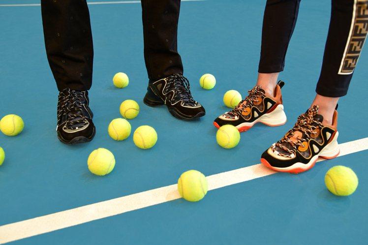 FENDI以拱形、曲線元素打造FFluid Sneakers休閒鞋。圖/FEND...