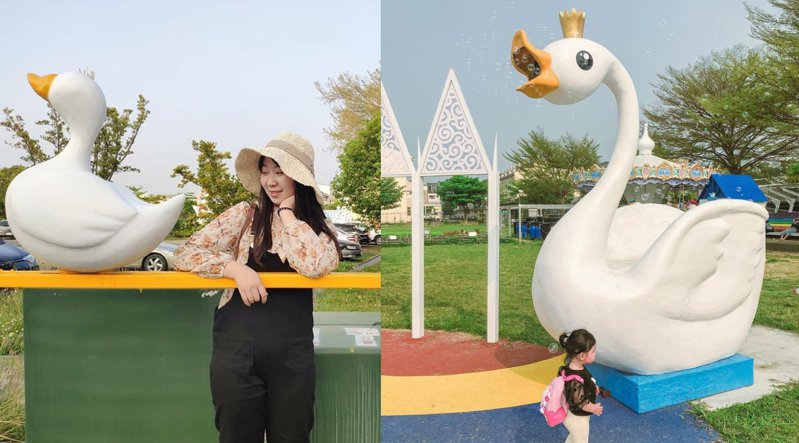 戶外樂園四處都是天鵝裝置。圖/IG@a4377929授權、IG@ru.ru.1014授權