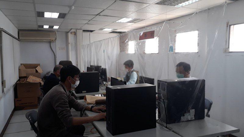台中市清水警分局防疫演練,易地辦公。圖/警方提供