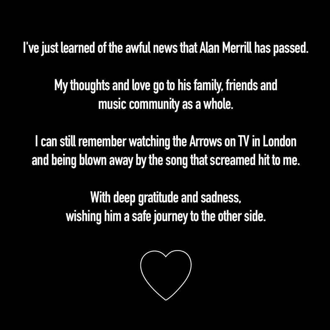 瓊傑特推特發文悼念艾倫梅里爾。圖/擷自Joan Jett推特
