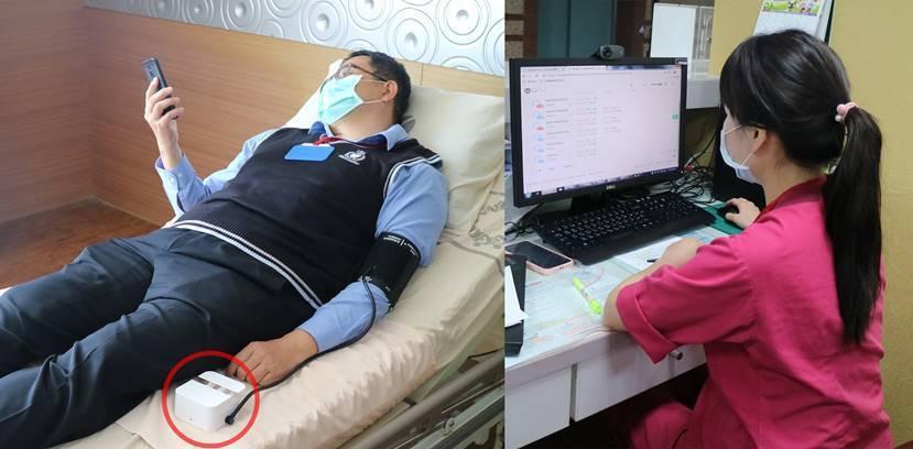 隔離病房內放置「全家寶」設備,讓病患自行量測 (左)。 病患量測數據立即傳送至位...