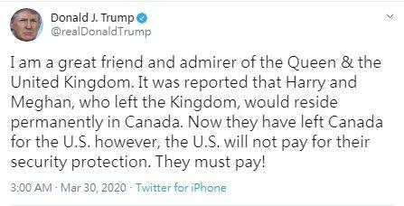 對於哈利梅根帶兒子突然移居加州。美國總統川普29日上推特放話,要兩人自己支付維安...