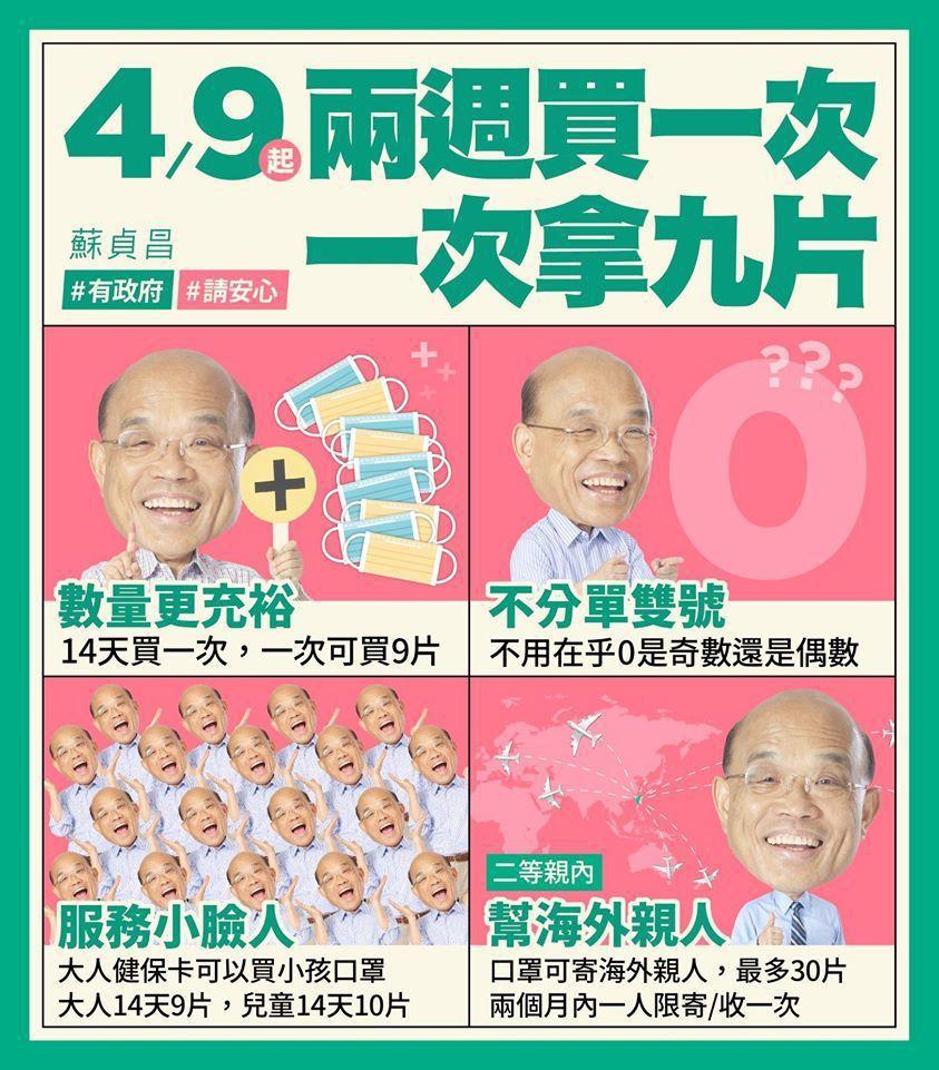 行政院長蘇貞昌說明4月9日起實施四大口罩新制。取自蘇貞昌臉書
