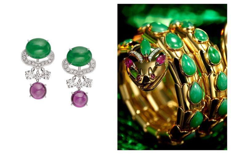 (左)BVLGARI 四月登台的頂級珠寶展中有13件翡翠珠寶全球首度曝光。(右)...
