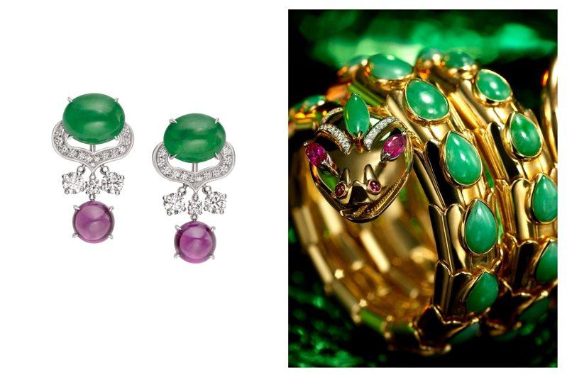 (左)BVLGARI 四月登台的頂級珠寶展中有13件翡翠珠寶全球首度曝光。(右)「彩寶之王」寶格麗自50、60年年代起就在珠寶設計中大量運用東方人鍾愛的翡翠。圖/寶格麗提供