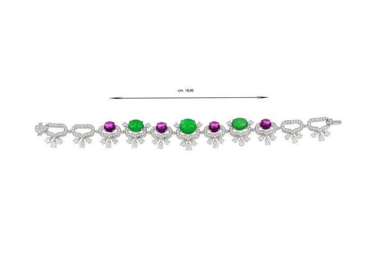 BVLGARI頂級翡翠、紫石榴石與鑽石手鍊,白K金鑲嵌3顆蛋面形切割翡翠共約11...