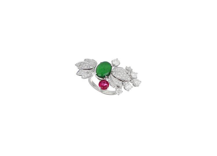 BVLGARI頂級翡翠、紅碧璽與鑽石戒指,白K金鑲嵌1顆蛋面形切割翡翠約2.77...