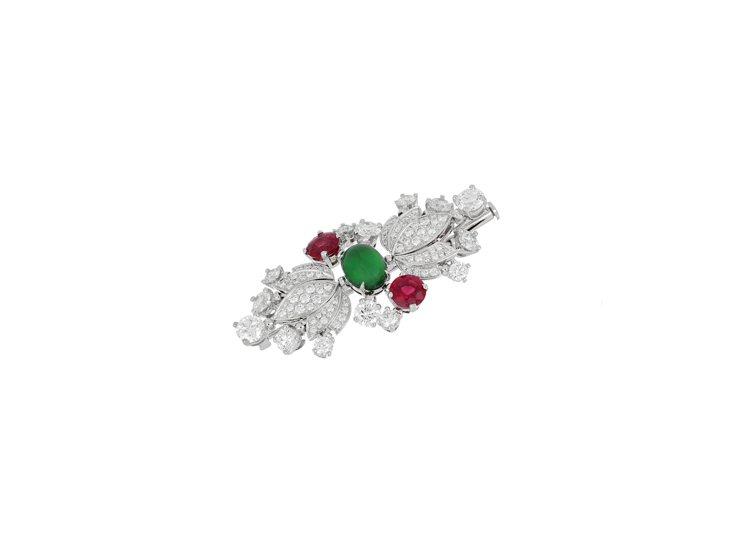 BVLGARI頂級翡翠、紅碧璽與鑽石胸針,白K金鑲嵌2.062克拉蛋面形切割翡翠...