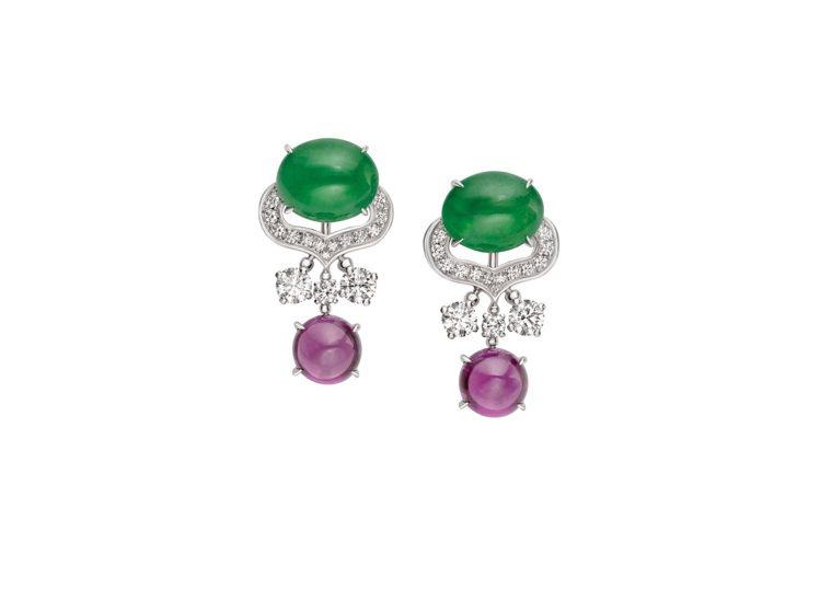 BVLGARI頂級翡翠、紫石榴石與鑽石耳環,白K金鑲嵌2顆蛋面形切割翡翠共約7....