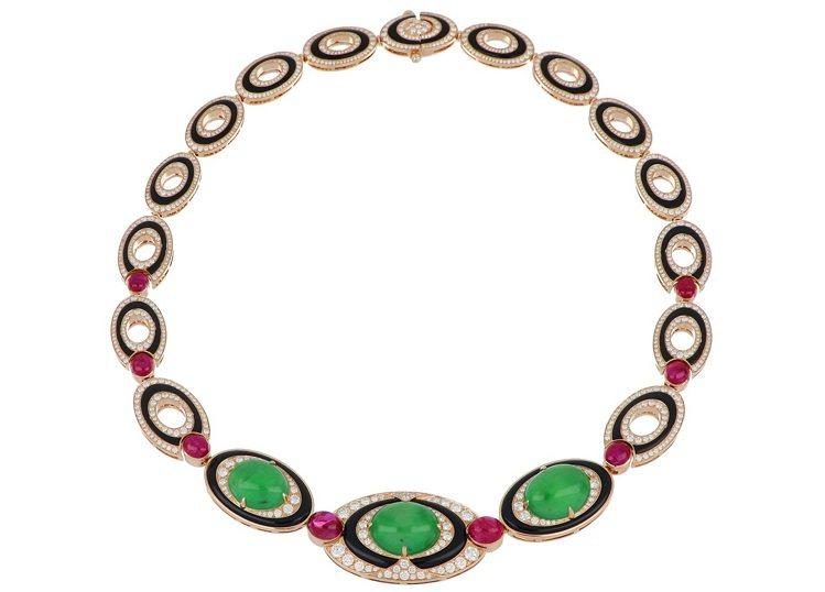 BVLGARI頂級翡翠、紅寶石與鑽石項鍊,玫瑰金鑲嵌縞瑪瑙、3顆蛋面形切割翡翠共...