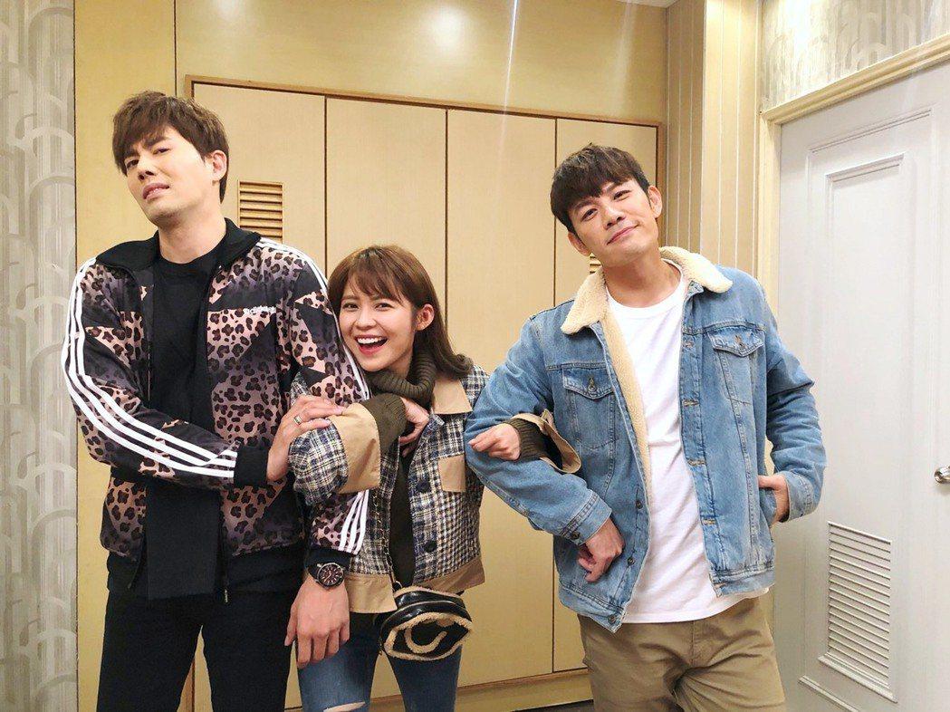 余秉諺(左起)、林萱瑜、陳志強在「炮仔聲」中上演三角戀。圖/三立提供