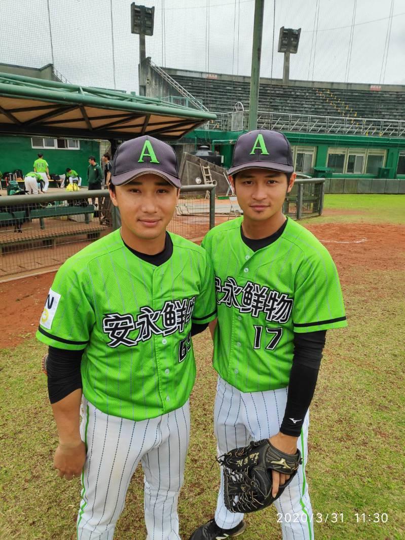 劉鎰嘉(右)、林志祥(左)。 擷圖自安永鮮物棒球隊粉絲團