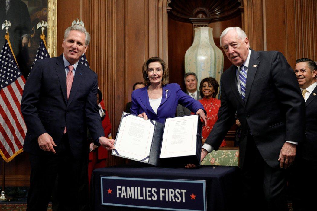 美議會簽抗疫法案資料照片。 (路透)