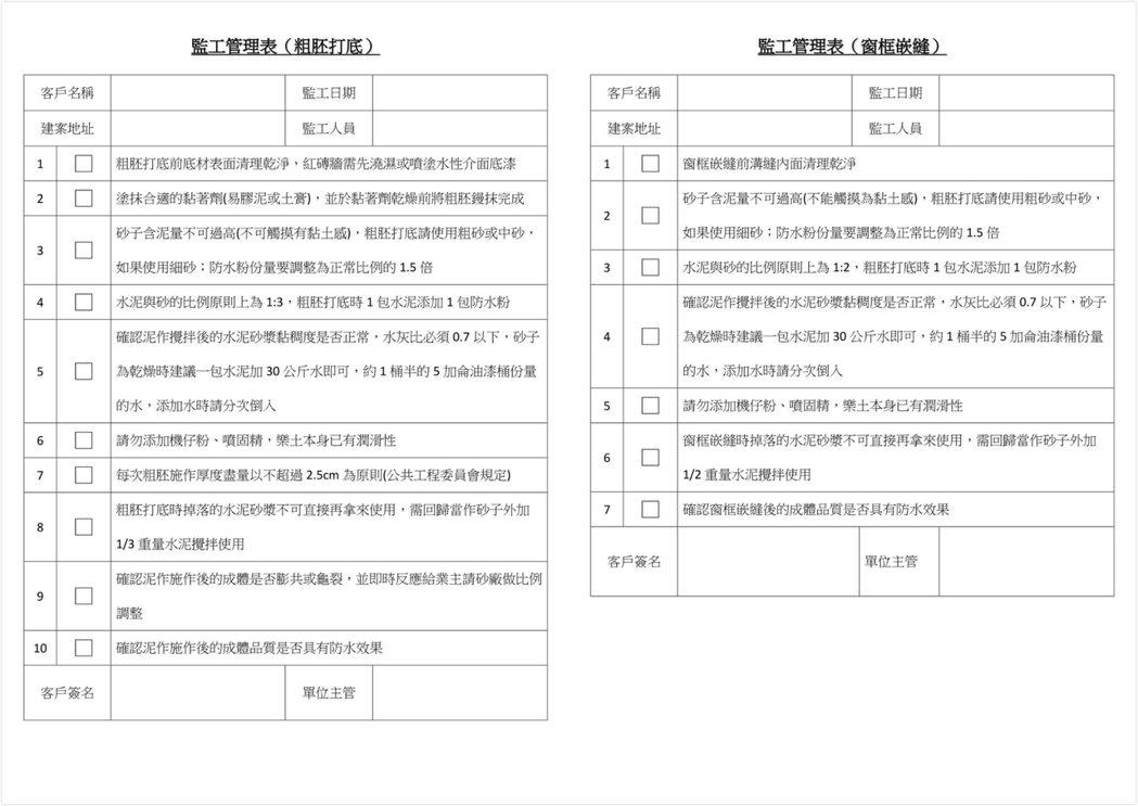 圖左:監工管理表(粗胚打底) 。圖右:監工管理表(窗框嵌縫) 。