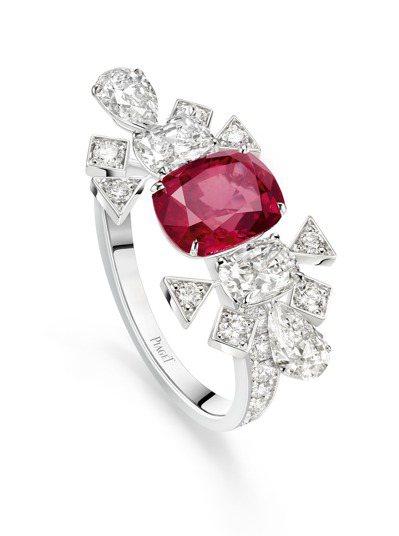 PIAGET「熾熱之光」紅寶石頂級珠寶鑽戒,18K白金鑲嵌2.51克拉枕形切割莫...