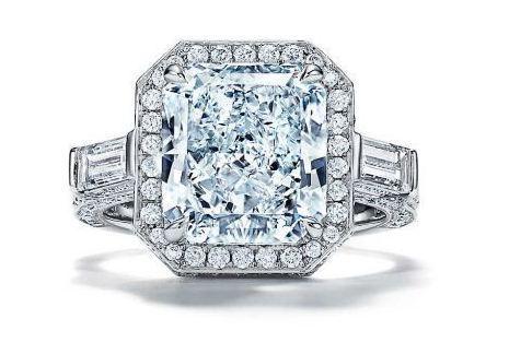 Tiffany Jewel Box高級珠寶系列戒指,鉑金鑲嵌主石為逾5克拉的長方...