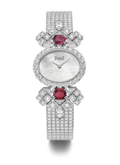 PIAGET「熾熱之光」紅寶石頂級珠寶鑽石腕表,18K白金鑲嵌2顆枕形切割莫桑比...
