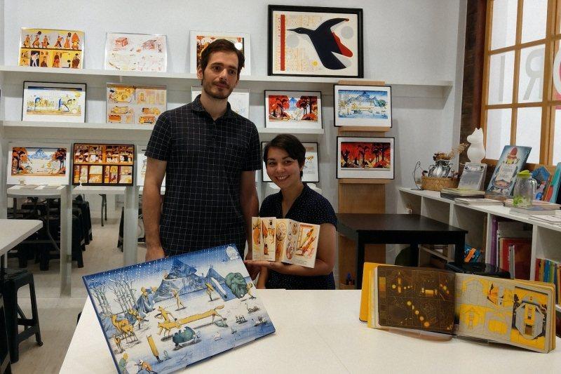 2019年9月,「童里繪本洋行」展出法國版印工作室雙人團體ICINORI系列作品並舉辦專題講座。 圖/作者提供