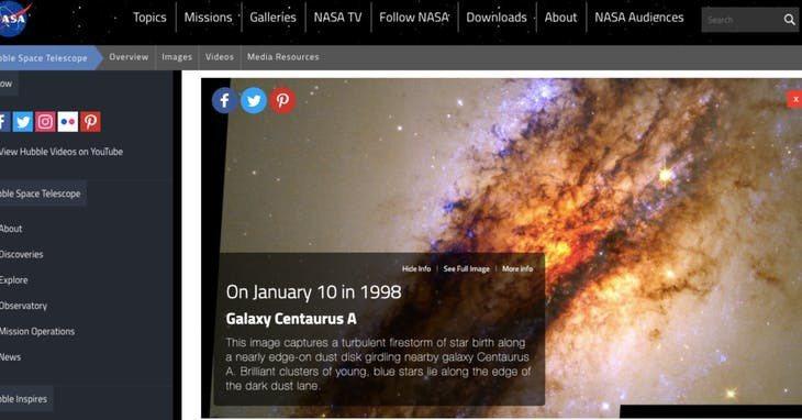 NASA 網站截圖