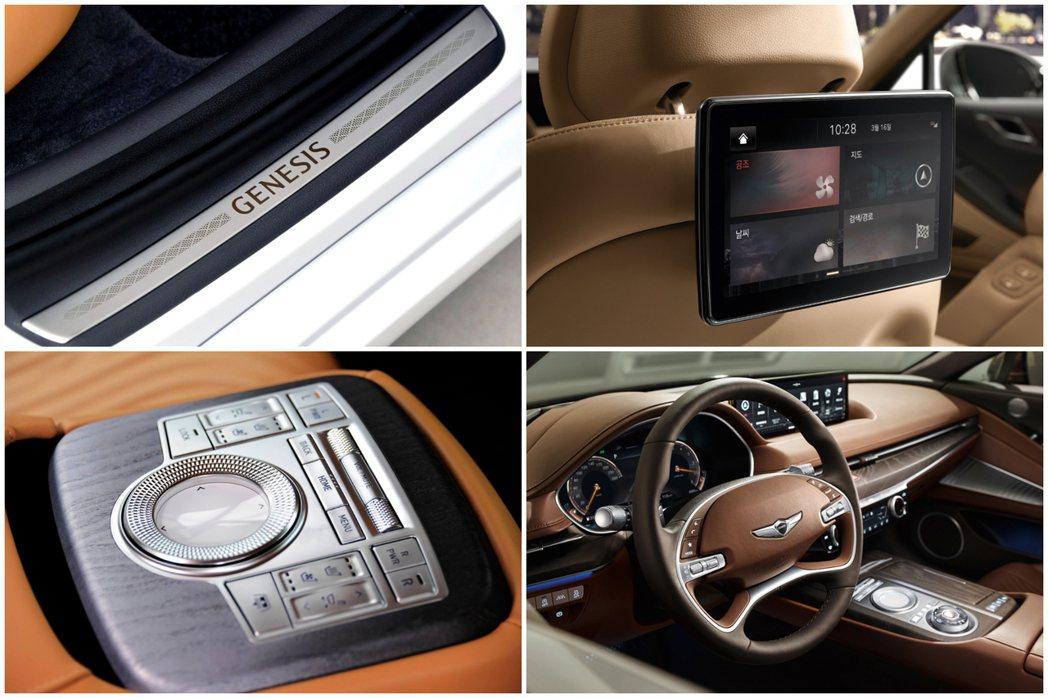 全新第三代Genesis G80提供可選配的後座8吋螢幕。 摘自Hyundai