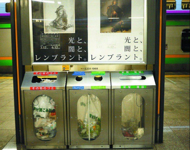 1995年「地下鐵沙林毒氣事件」後,日本就撤除許多公共場合的垃圾桶,車站僅有的垃圾桶也改成透明的分類垃圾桶,可清楚看見內容物。 圖/台鐵提供
