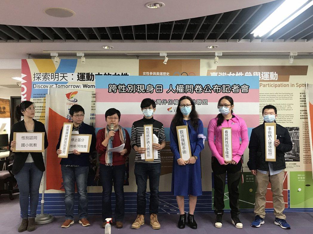 今天是國際跨性別現身日,台灣伴侶權益推動聯盟公布「跨性別人權現況問卷調查」結果,...