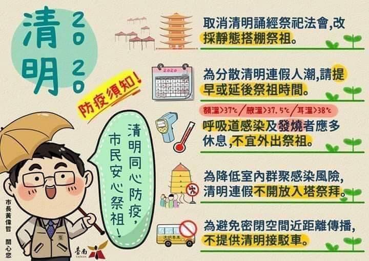 清明連假,台南市祭祖採「不入塔、不接駁、無法會」模式,呼籲市民清明同心防疫,市民安心祭祖。記者邵心杰/翻攝