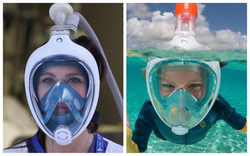 新冠肺炎病患暴增,導致呼吸器嚴重不足。義大利一名退休醫師為了解決這個問題,找上工程師團隊聯手研發,把浮潛面罩改裝成為呼吸輔助器。 路透/Decathlon