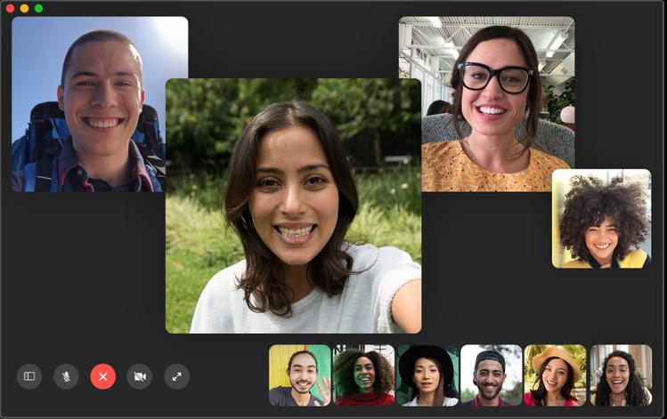 群組FaceTime功能支援最多32位用戶同時進行視像或語音通話。圖/蘋果提供