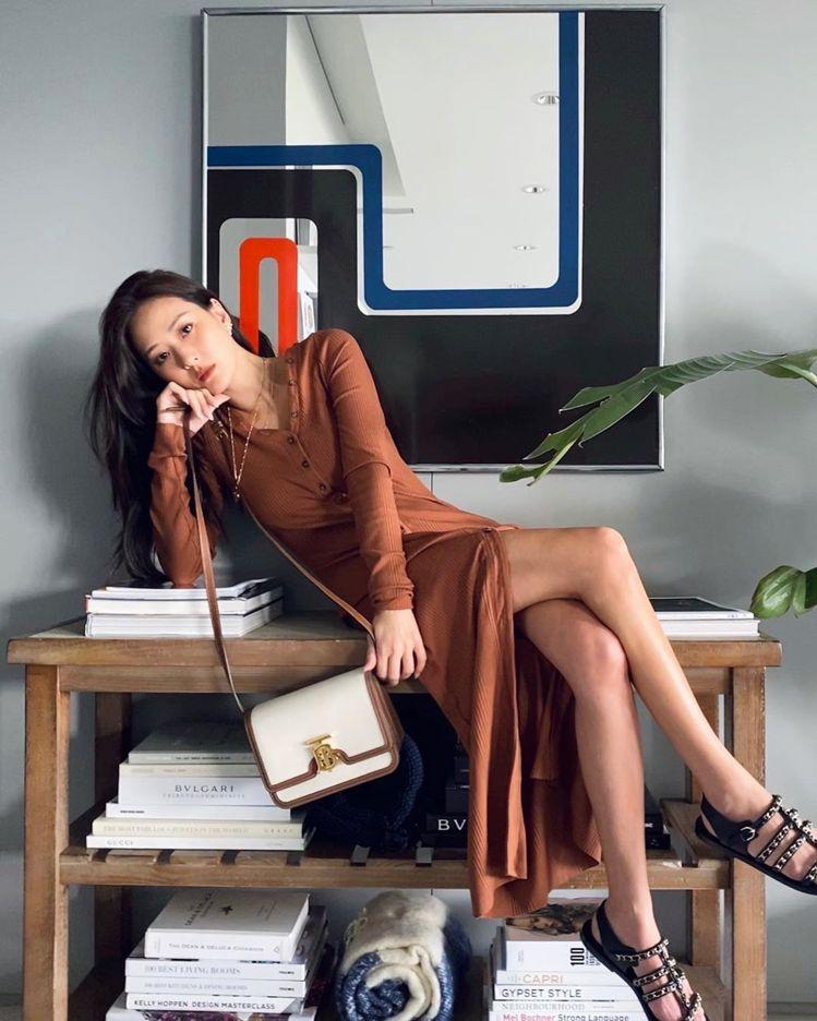 孫芸芸演繹麥芽棕雙色調帆布及皮革TB包(小型),售價65,000元。圖/取自IG