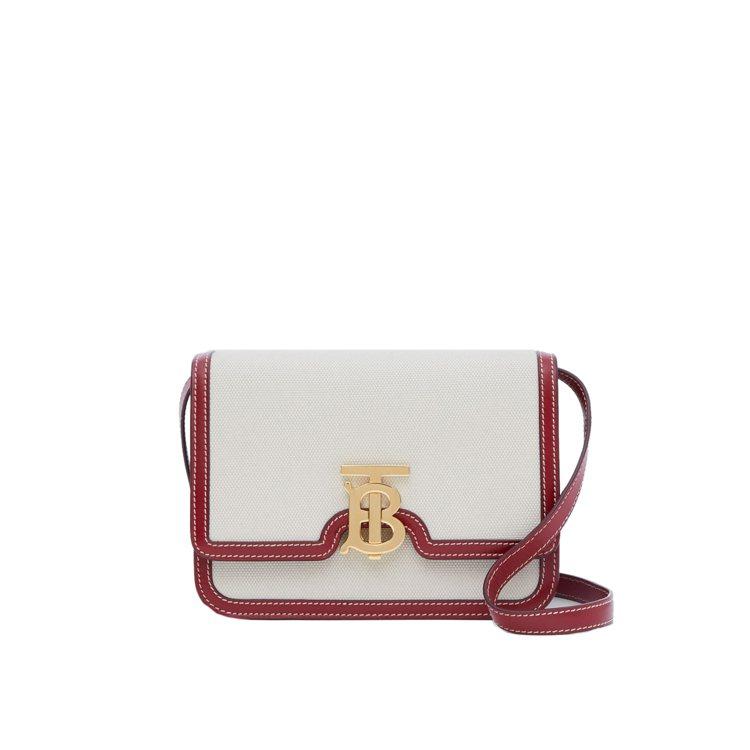 自然色、暗胭脂紅雙色調帆布及皮革TB包(小型),售價65,000元。圖/BURB...