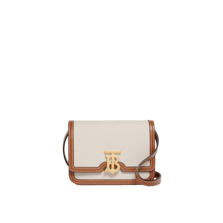 麥芽棕雙色調帆布及皮革TB包(迷你),售價41,900元。圖/BURBERRY提...